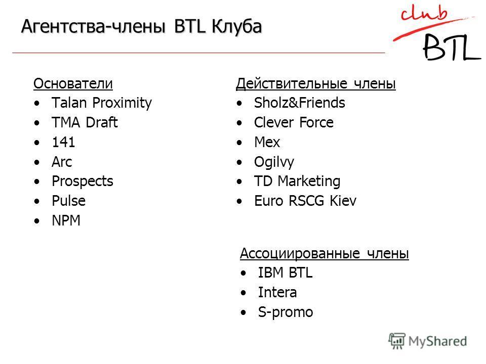 Агентства-члены BTL Клуба Основатели Talan Proximity TMA Draft 141 Arc Prospects Pulse NPM Ассоциированные члены IBM BTL Intera S-promo Действительные члены Sholz&Friends Clever Force Mex Ogilvy TD Marketing Euro RSCG Kiev