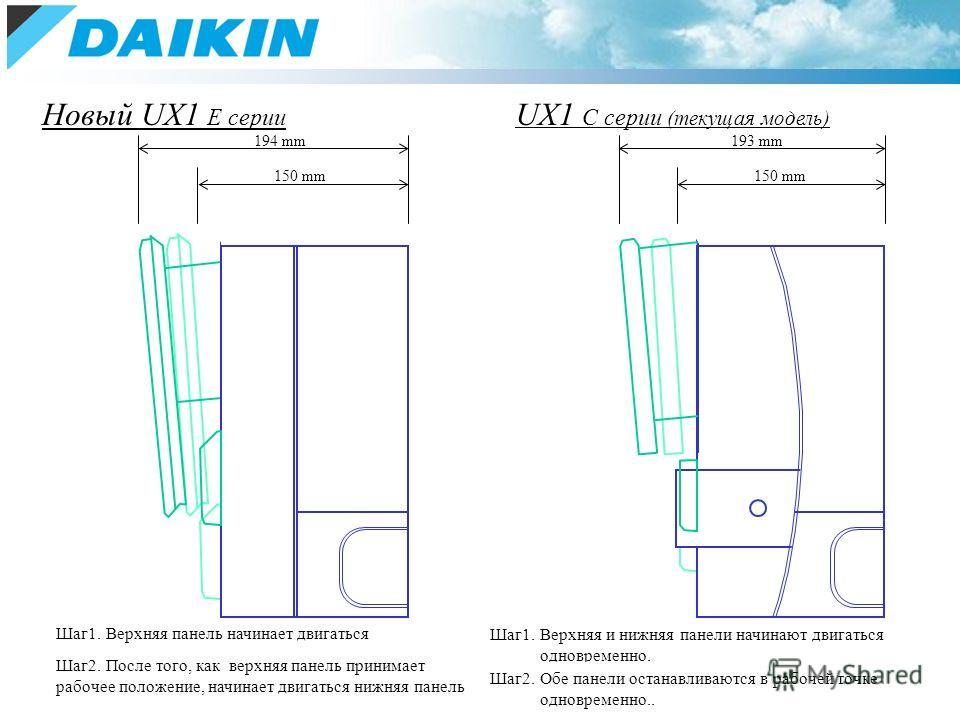 Upper panel Lower panel Upper panel Lower panel Шаг1. Верхняя панель начинает двигаться Шаг1. Верхняя и нижняя панели начинают двигаться одновременно. 194 mm193 mm 150 mm Новый UX1 E серии UX1 C серии (текущая модель) Шаг2. Обе панели останавливаются