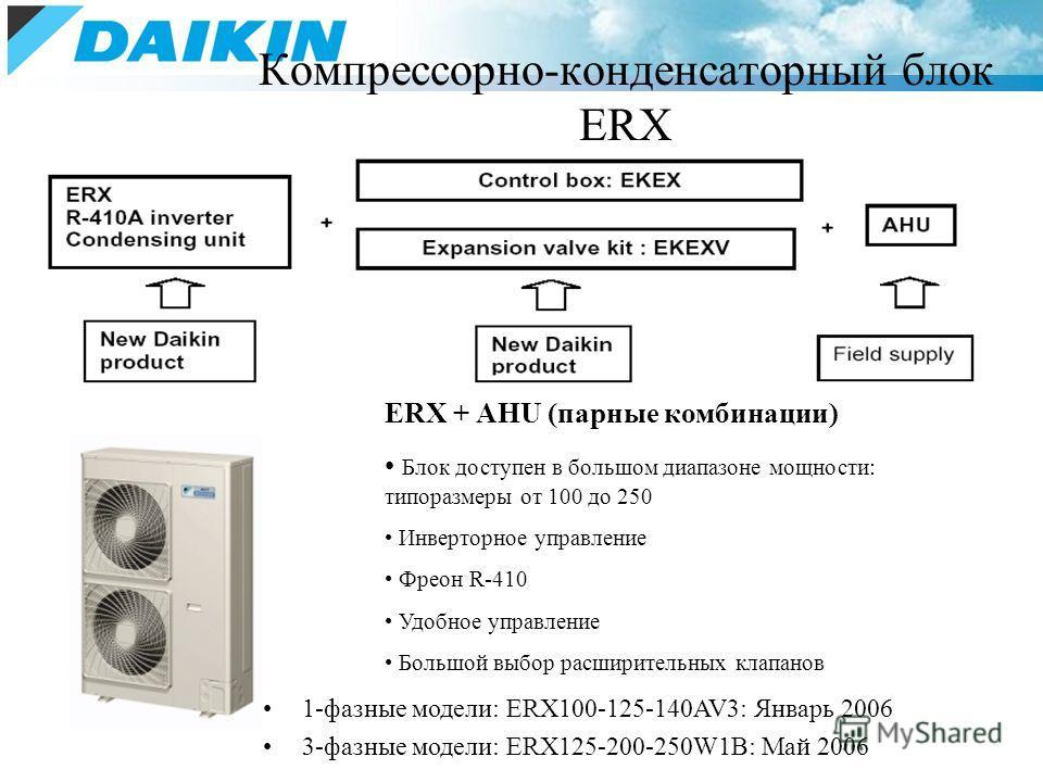 Компрессорно-конденсаторный блок ERX ERX + AHU (парные комбинации) Блок доступен в большом диапазоне мощности: типоразмеры от 100 до 250 Инверторное управление Фреон R-410 Удобное управление Большой выбор расширительных клапанов 1-фазные модели: ERX1