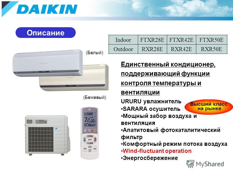 (Белый) (Бежевый) Описание Единственный кондиционер, поддерживающий функции контроля температуры и вентиляции URURU увлажнитель SARARA осушитель Мощный забор воздуха и вентиляция Апатитовый фотокаталитический фильтр Комфортный режим потока воздуха Wi