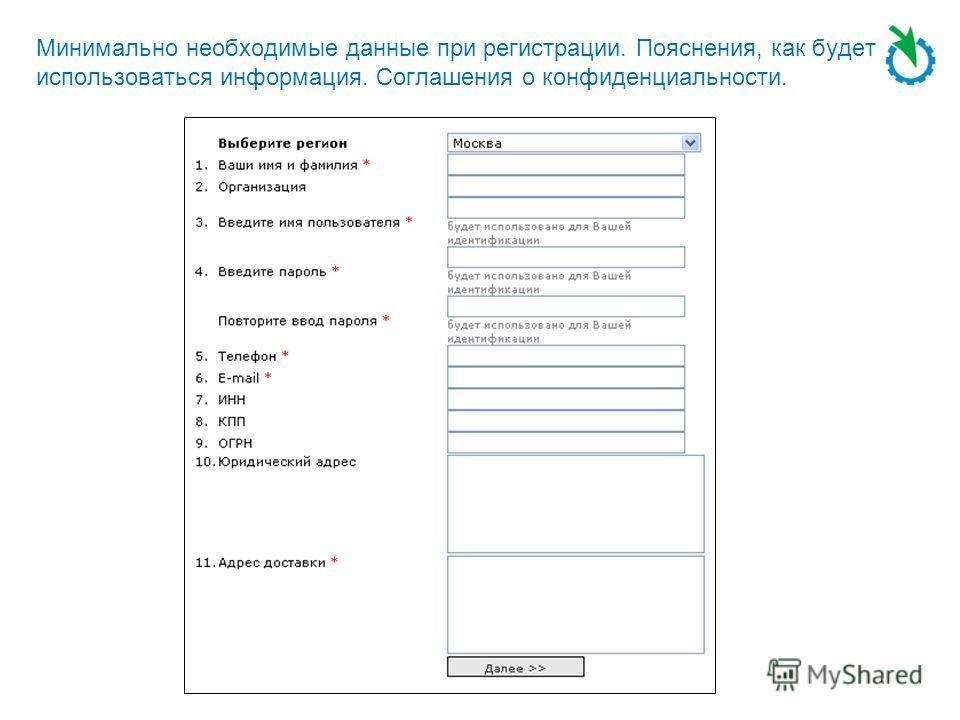 Минимально необходимые данные при регистрации. Пояснения, как будет использоваться информация. Соглашения о конфиденциальности.