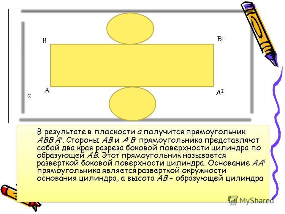 В результате в плоскости α получится прямоугольник АВВ I А I. Стороны АВ и А I В I прямоугольника представляют собой два края разреза боковой поверхности цилиндра по образующей АВ. Этот прямоугольник называется разверткой боковой поверхности цилиндра