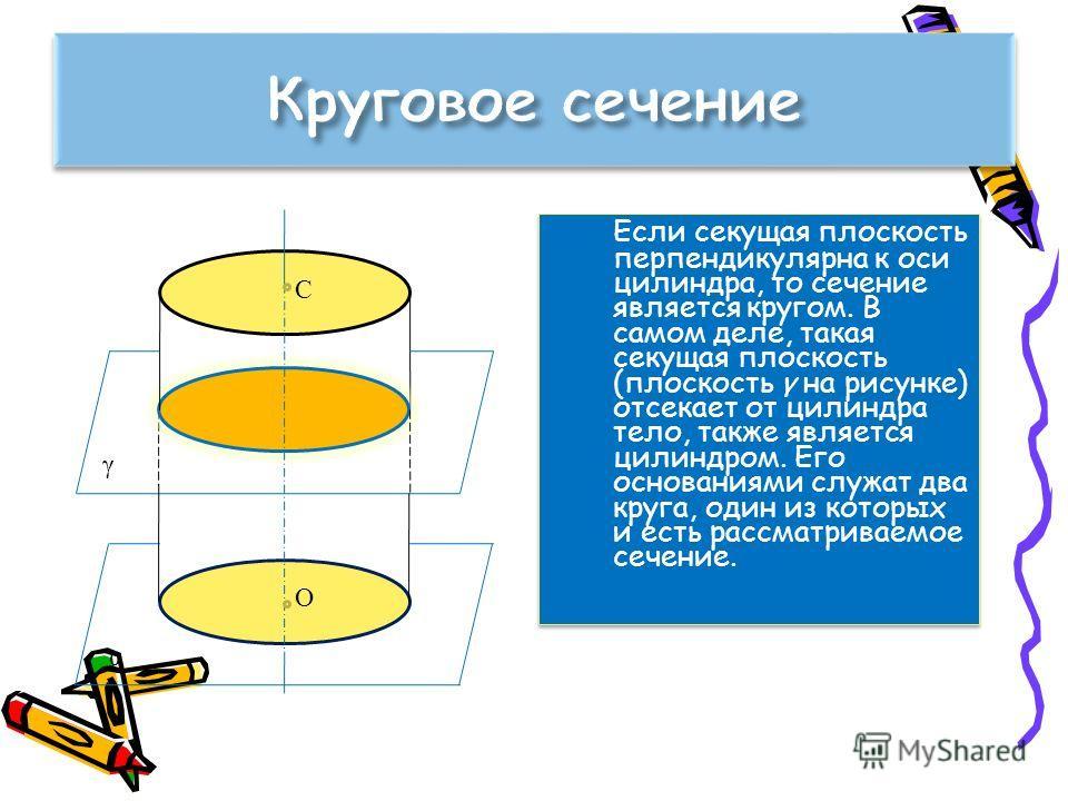 Если секущая плоскость перпендикулярна к оси цилиндра, то сечение является кругом. В самом деле, такая секущая плоскость (плоскость γ на рисунке) отсекает от цилиндра тело, также является цилиндром. Его основаниями служат два круга, один из которых и