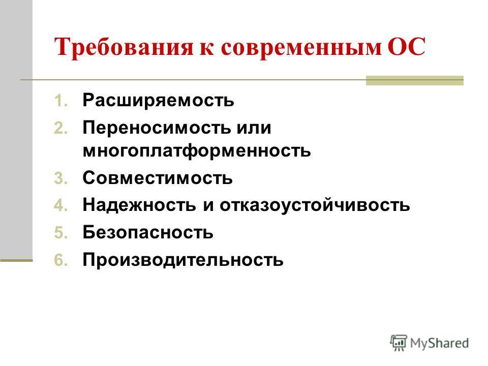 Требования к современным ОС 1. Расширяемость 2. Переносимость или многоплатформенность 3. Совместимость 4. Надежность и отказоустойчивость 5. Безопасность 6. Производительность