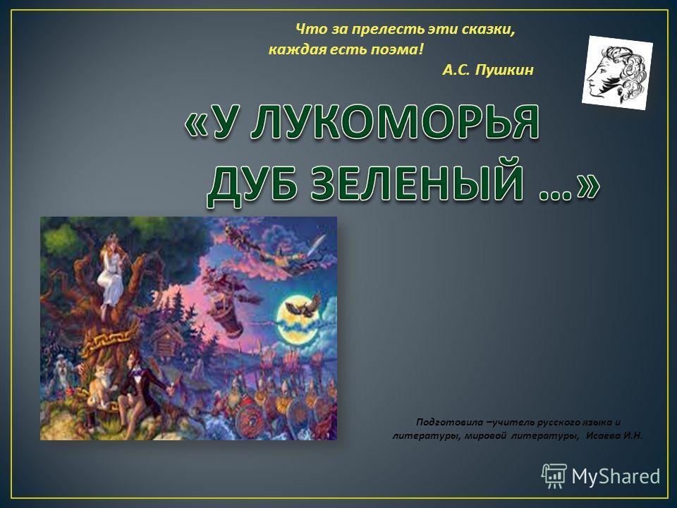 Что за прелесть эти сказки, каждая есть поэма ! А. С. Пушкин Подготовила –учитель русского языка и литературы, мировой литературы, Исаева И.Н.