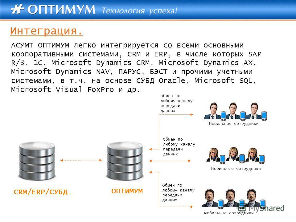 Интеграция. АСУМТ ОПТИМУМ легко интегрируется со всеми основными корпоративными системами, CRM и ERP, в числе которых SAP R/3, 1C, Microsoft Dynamics CRM, Microsoft Dynamics AX, Microsoft Dynamics NAV, ПАРУС, БЭСТ и прочими учетными системами, в т.ч.