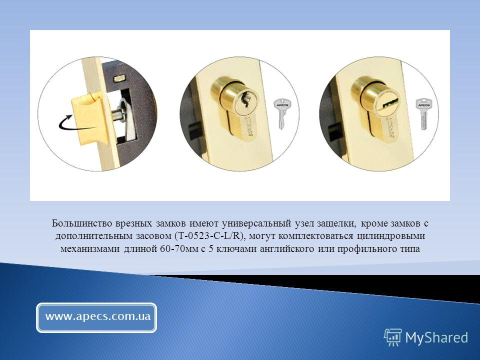 Большинство врезных замков имеют универсальный узел защелки, кроме замков с дополнительным засовом (Т-0523-С-L/R), могут комплектоваться цилиндровыми механизмами длиной 60-70мм с 5 ключами английского или профильного типа www.apecs.com.ua