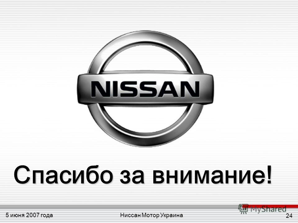 Ниссан Мотор Украина5 июня 2007 года 24 Спасибо за внимание!