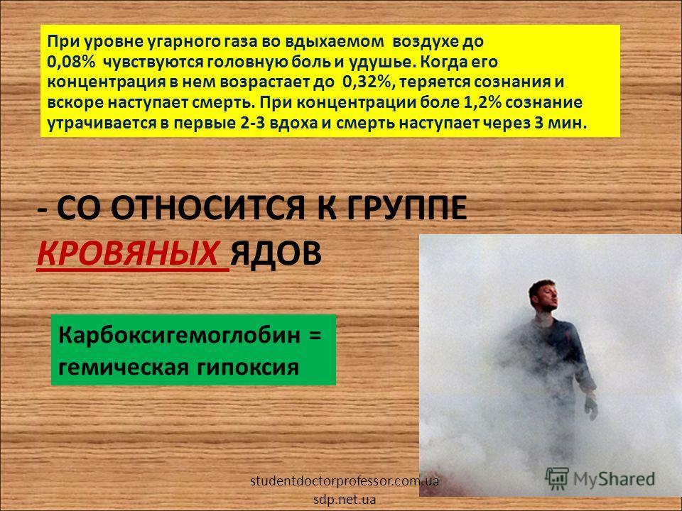 - CO ОТНОСИТСЯ К ГРУППЕ КРОВЯНЫХ ЯДОВ При уровне угарного газа во вдыхаемом воздухе до 0,08% чувствуются головную боль и удушье. Когда его концентрация в нем возрастает до 0,32%, теряется сознания и вскоре наступает смерть. При концентрации боле 1,2%