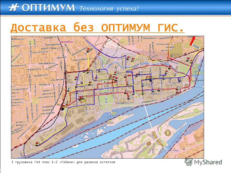 Доставка без ОПТИМУМ ГИС. 3 грузовика ГАЗ плюс 1-2 «ГАЗели» для развоза остатков