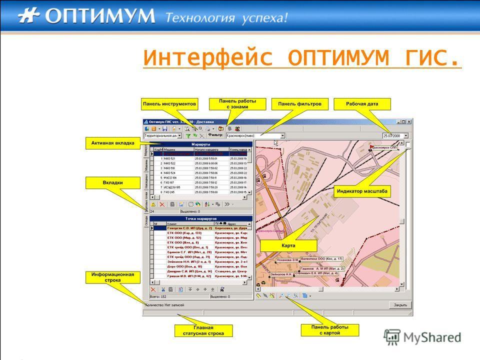 Интерфейс ОПТИМУМ ГИС.