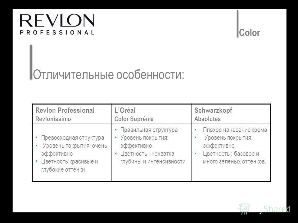 Отличительные особенности: Color Revlon Professional Revlonissimo LOréal Color Suprême Schwarzkopf Absolutes Превосходная структура Уровень покрытия: очень эффективно Цветность:красивые и глубокие оттенки Правильная структура Уровень покрытия: эффект