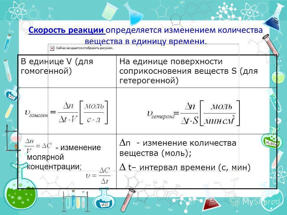 Скорость реакции определяется изменением количества вещества в единицу времени. В единице V (для гомогенной) На единице поверхности соприкосновения веществ S (для гетерогенной) n - изменение количества вещества (моль); t– интервал времени (с, мин) -