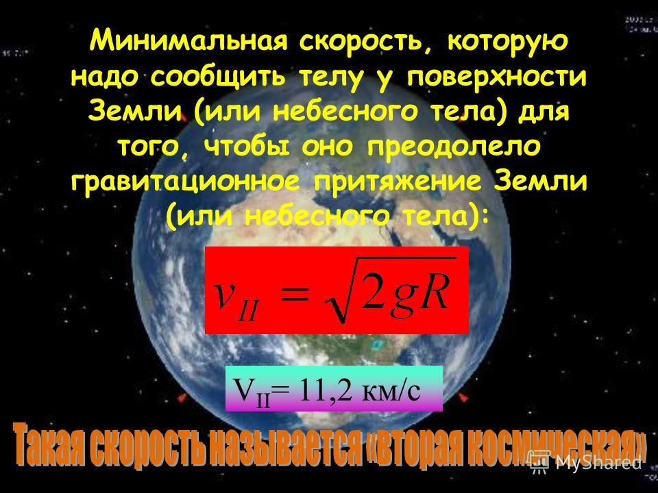 Для того, чтобы взлететь на орбиту Земли, преодолев сопротивление атмосферы, необходимо развить такую скорость: g = 9,8 м/с 2 R Земли = 6,4 * 10 6 м