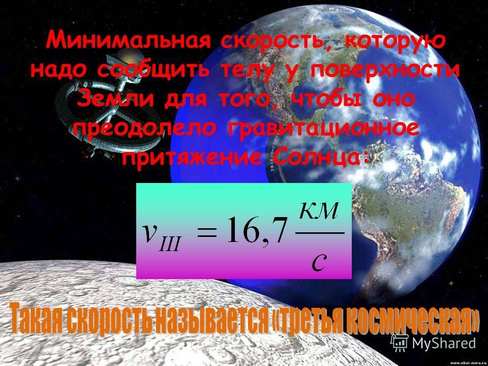 V II = 11,2 км/с Минимальная скорость, которую надо сообщить телу у поверхности Земли (или небесного тела) для того, чтобы оно преодолело гравитационное притяжение Земли (или небесного тела):