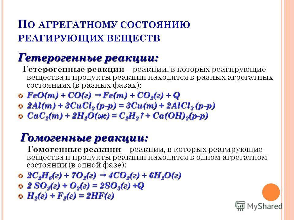 П О АГРЕГАТНОМУ СОСТОЯНИЮ РЕАГИРУЮЩИХ ВЕЩЕСТВ Гетерогенные реакции: Гетерогенные реакции реакции, в которых реагирующие вещества и продукты реакции находятся в разных агрегатных состояниях (в разных фазах): Гетерогенные реакции – реакции, в которых р