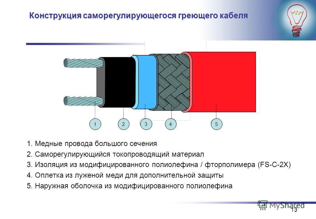 13 Конструкция саморегулирующегося греющего кабеля 1. Медные провода большого сечения 2. Саморегулирующийся токопроводящий материал 3. Изоляция из модифицированного полиолефина / фторполимера (FS-C-2X) 4. Оплетка из луженой меди для дополнительной за