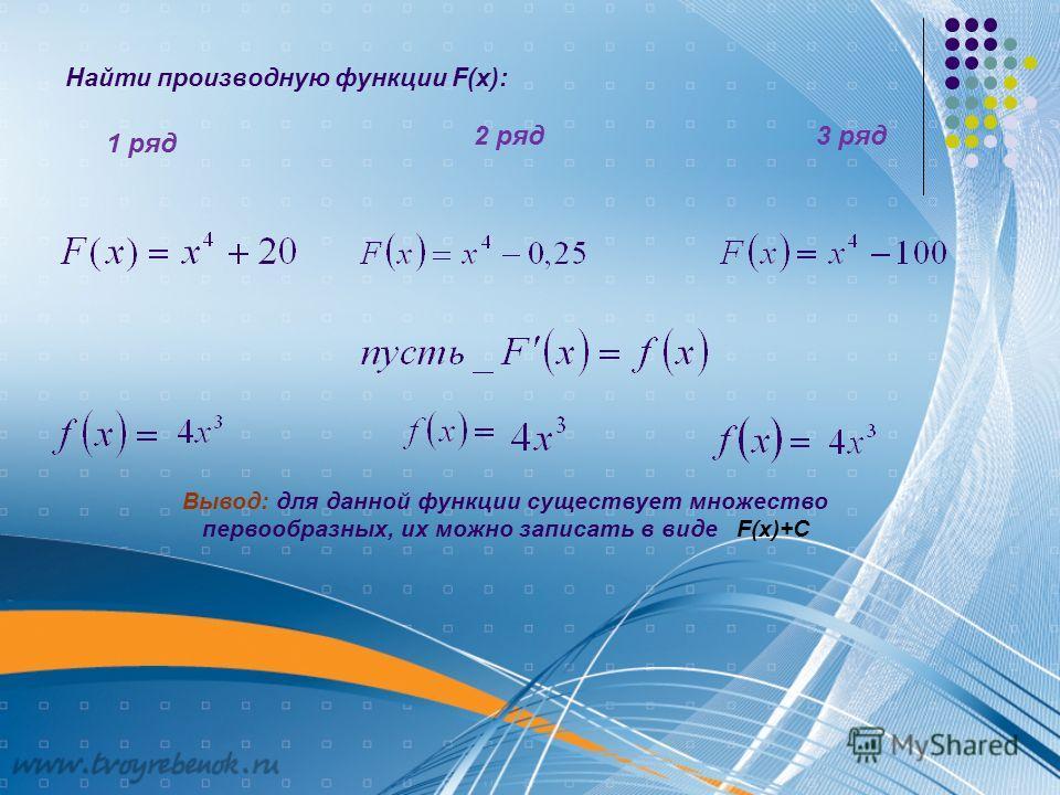 Найти производную функции F(x): 1 ряд 2 ряд3 ряд Вывод: для данной функции существует множество первообразных, их можно записать в виде F(x)+C