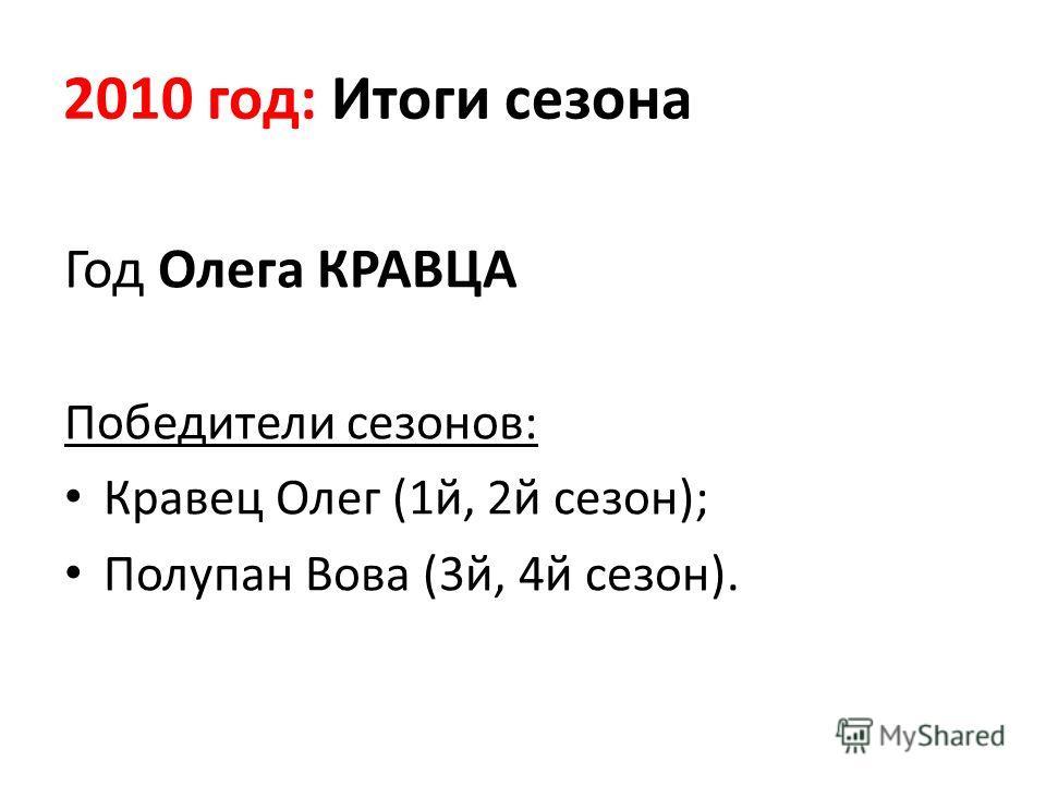 2010 год: Итоги сезона Год Олега КРАВЦА Победители сезонов: Кравец Олег (1й, 2й сезон); Полупан Вова (3й, 4й сезон).