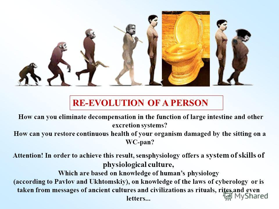 How can you eliminate decompensation in the function of large intestine and other excretion systems? How can you restore continuous health of your organism damaged by the sitting on a WC-pan? RE-EVOLUTION OF A PERSON Attention! In order to achieve th