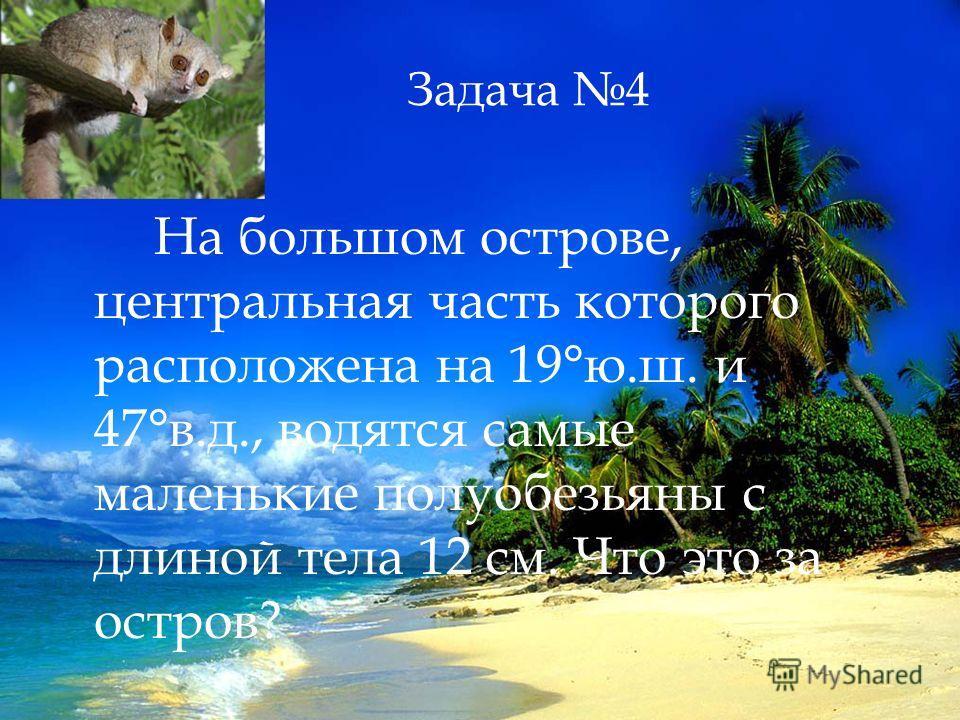 Задача 4 На большом острове, центральная часть которого расположена на 19°ю.ш. и 47°в.д., водятся самые маленькие полуобезьяны с длиной тела 12 см. Что это за остров?