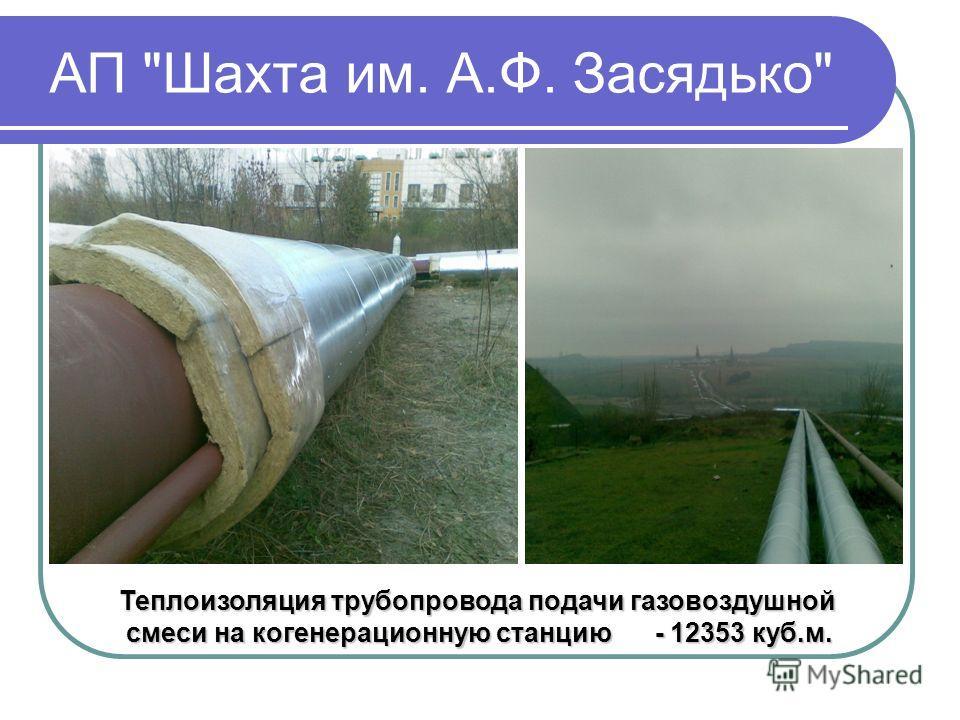 АП Шахта им. А.Ф. Засядько Теплоизоляция трубопровода подачи газовоздушной смеси на когенерационную станцию - 12353 куб.м. смеси на когенерационную станцию - 12353 куб.м.