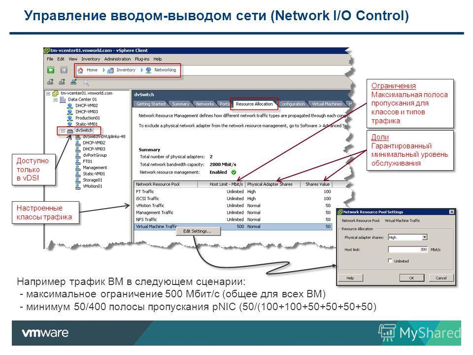 Управление вводом-выводом сети (Network I/O Control) Например трафик ВМ в следующем сценарии: - максимальное ограничение 500 Мбит/с (общее для всех ВМ) - минимум 50/400 полосы пропускания pNIC (50/(100+100+50+50+50+50) Доступно только в vDS! Доли Гар