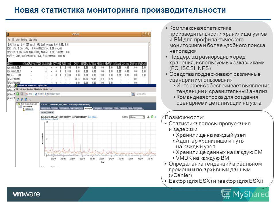 Новая статистика мониторинга производительности Комплексная статистика производительности хранилища узлов и ВМ для профилактического мониторинга и более удобного поиска неполадок Поддержка разнородных сред хранения, используемых заказчиками (FC, iSCS
