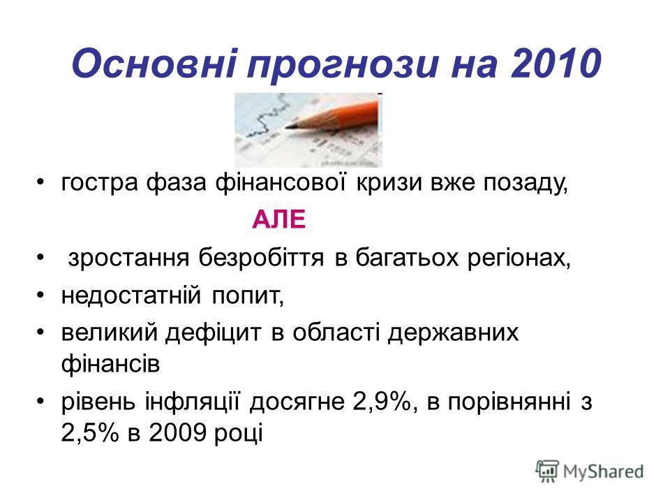Основні прогнози на 2010 гостра фаза фінансової кризи вже позаду, АЛЕ зростання безробіття в багатьох регіонах, недостатній попит, великий дефіцит в області державних фінансів рівень інфляції досягне 2,9%, в порівнянні з 2,5% в 2009 році.