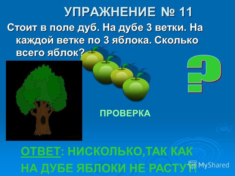 УПРАЖНЕНИЕ 11 Стоит в поле дуб. На дубе 3 ветки. На каждой ветке по 3 яблока. Сколько всего яблок? ПРОВЕРКА ОТВЕТ: НИСКОЛЬКО,ТАК КАК НА ДУБЕ ЯБЛОКИ НЕ РАСТУТ!