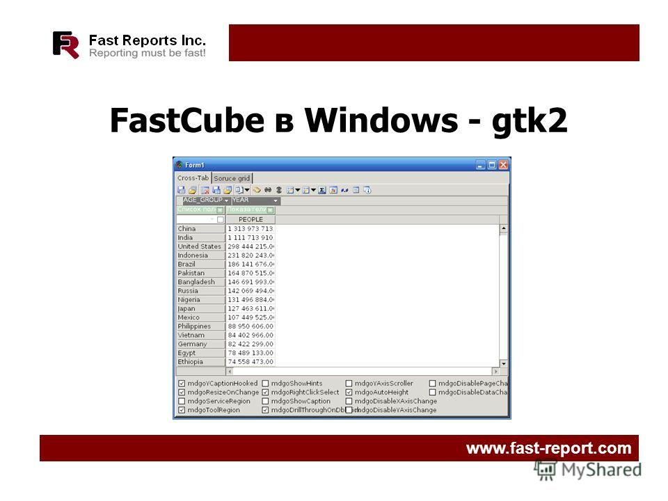 FastCube в Windows - gtk2 www.fast-report.com