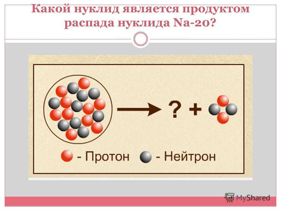 Какой нуклид является продуктом распада нуклида Na-20?