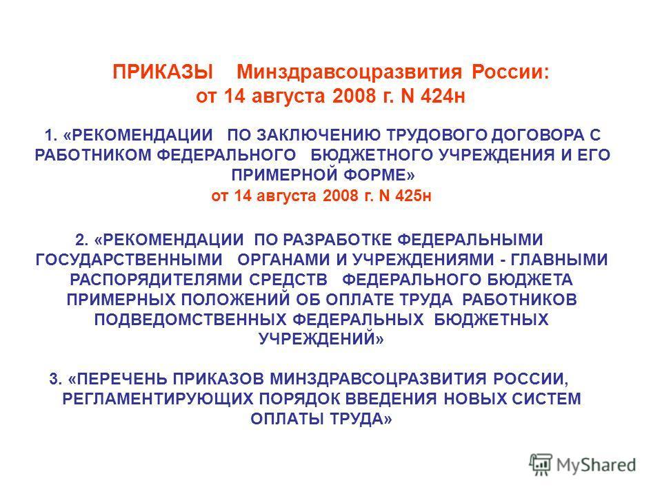 ПРИКАЗЫ Минздравсоцразвития России: от 14 августа 2008 г. N 424н 1. «РЕКОМЕНДАЦИИ ПО ЗАКЛЮЧЕНИЮ ТРУДОВОГО ДОГОВОРА С РАБОТНИКОМ ФЕДЕРАЛЬНОГО БЮДЖЕТНОГО УЧРЕЖДЕНИЯ И ЕГО ПРИМЕРНОЙ ФОРМЕ» от 14 августа 2008 г. N 425н 2. «РЕКОМЕНДАЦИИ ПО РАЗРАБОТКЕ ФЕДЕ