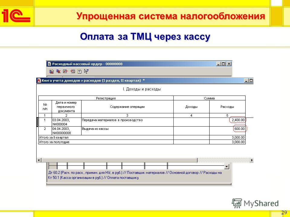 Упрощенная система налогообложения 29 Оплата за ТМЦ через кассу