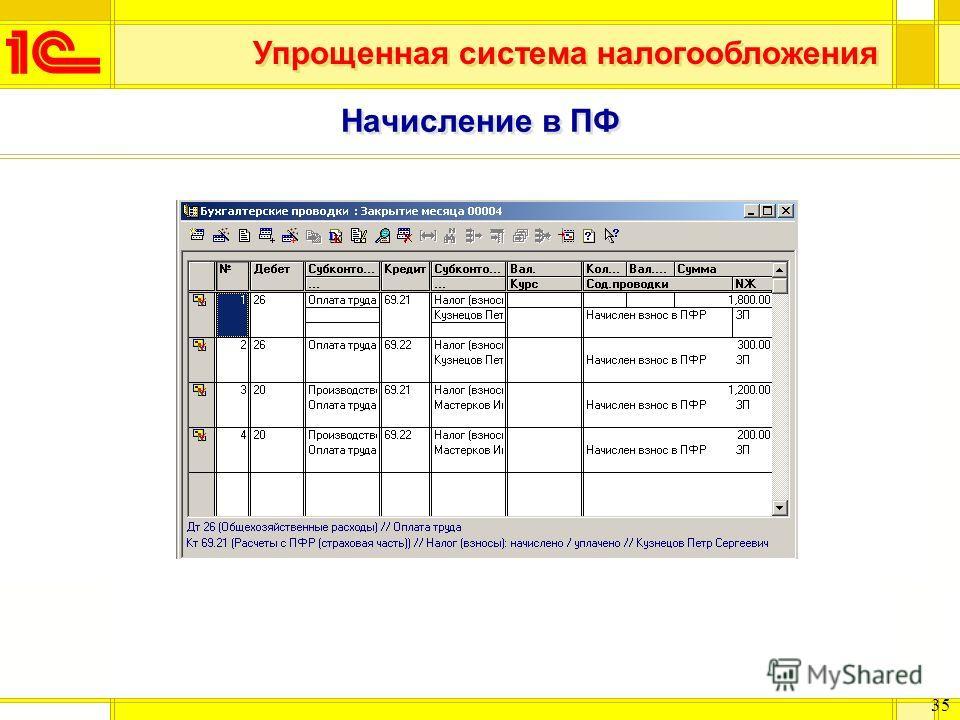 Упрощенная система налогообложения 35 Начисление в ПФ
