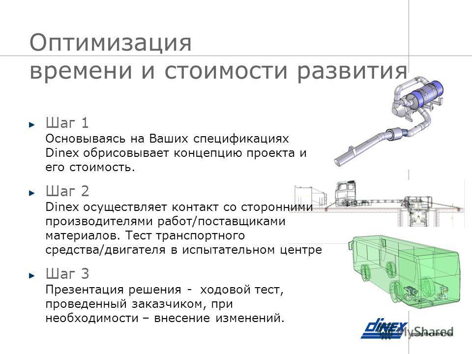 Оптимизация времени и стоимости развития Шаг 1 Основываясь на Ваших спецификациях Dinex обрисовывает концепцию проекта и его стоимость. Шаг 2 Dinex осуществляет контакт со сторонними производителями работ/поставщиками материалов. Тест транспортного с