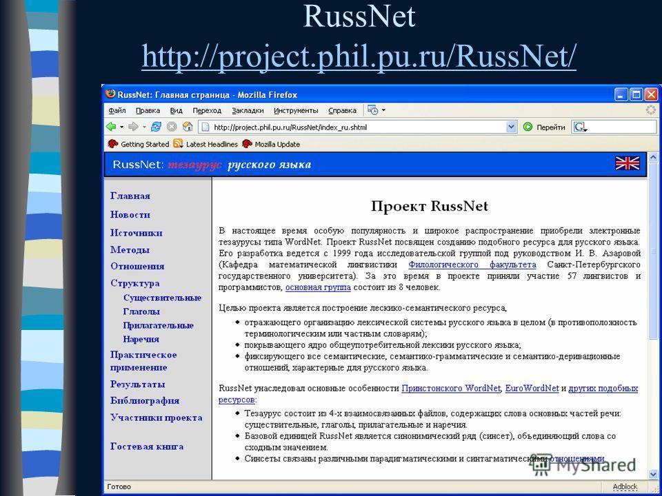 RussNet http://project.phil.pu.ru/RussNet/ http://project.phil.pu.ru/RussNet/