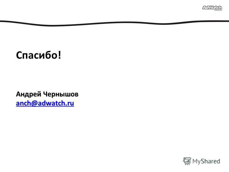 Андрей Чернышов anch@adwatch.ru Спасибо! Андрей Чернышов anch@adwatch.ru anch@adwatch.ru