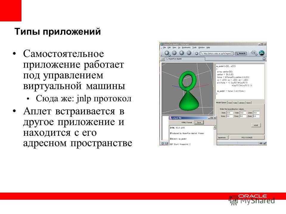 Типы приложений Самостоятельное приложение работает под управлением виртуальной машины Сюда же: jnlp протокол Аплет встраивается в другое приложение и находится с его адресном пространстве
