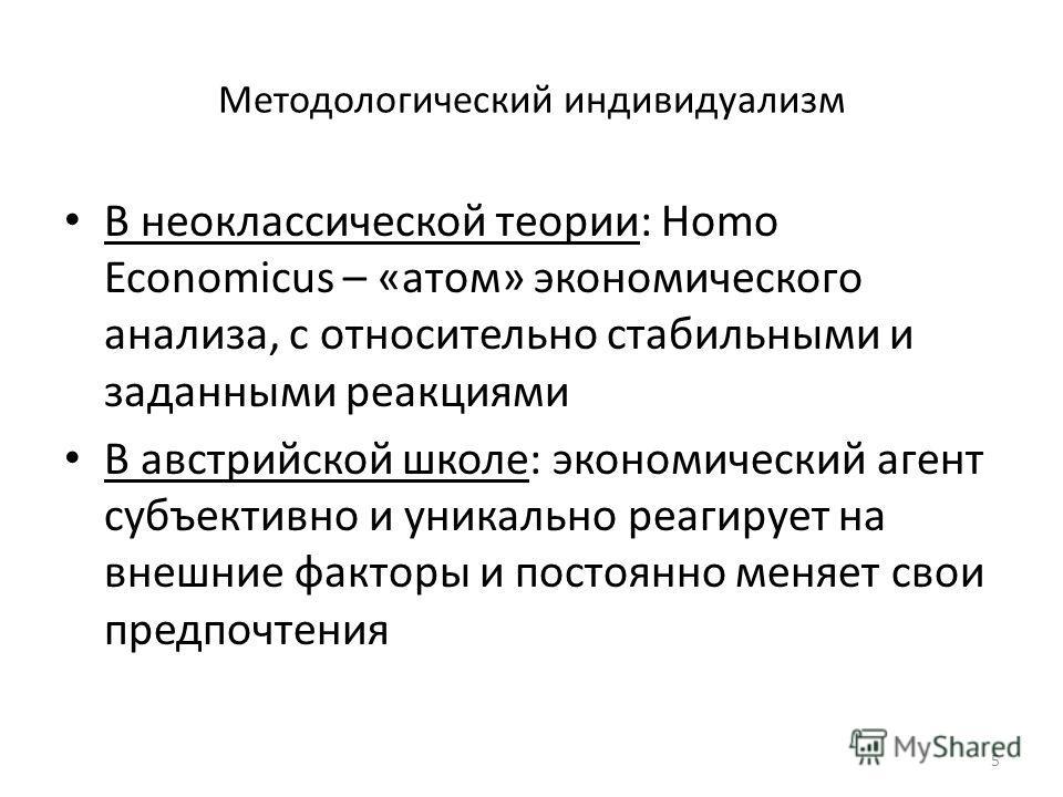 Методологический индивидуализм В неоклассической теории: Homo Economicus – «атом» экономического анализа, с относительно стабильными и заданными реакциями В австрийской школе: экономический агент субъективно и уникально реагирует на внешние факторы и