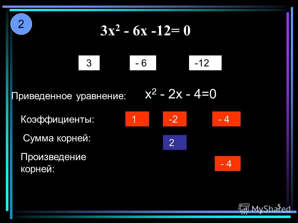 3x 2 - 6x -12= 0 3 - 6 -12 Приведенное уравнение: x 2 - 2x - 4=0 Коэффициенты: -2 -2 - 4 Сумма корней: Произведение корней: 2 - 4 1 2 5