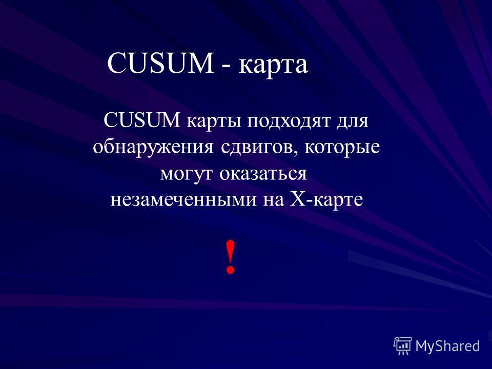 CUSUM - карта CUSUM карты подходят для обнаружения сдвигов, которые могут оказаться незамеченными на Х-карте !