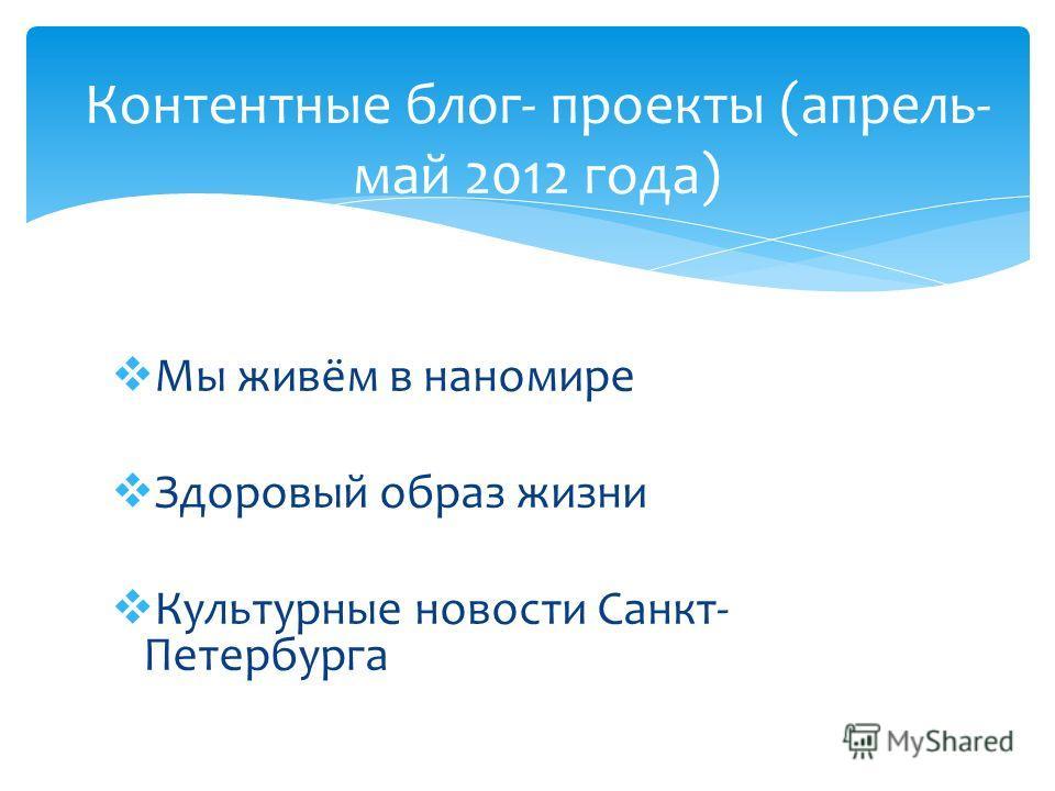 Мы живём в наномире Здоровый образ жизни Культурные новости Санкт- Петербурга Контентные блог- проекты (апрель- май 2012 года)