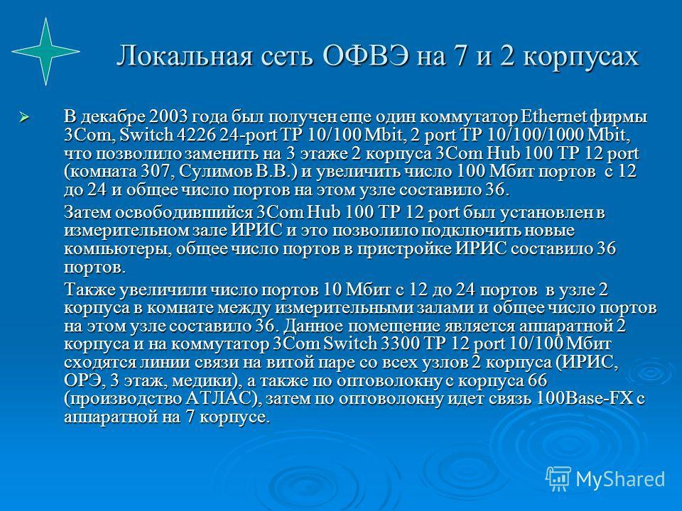 Локальная сеть ОФВЭ на 7 и 2 корпусах В декабре 2003 года был получен еще один коммутатор Ethernet фирмы 3Com, Switch 4226 24-port TP 10/100 Mbit, 2 port TP 10/100/1000 Mbit, что позволило заменить на 3 этаже 2 корпуса 3Com Hub 100 TP 12 port (комнат