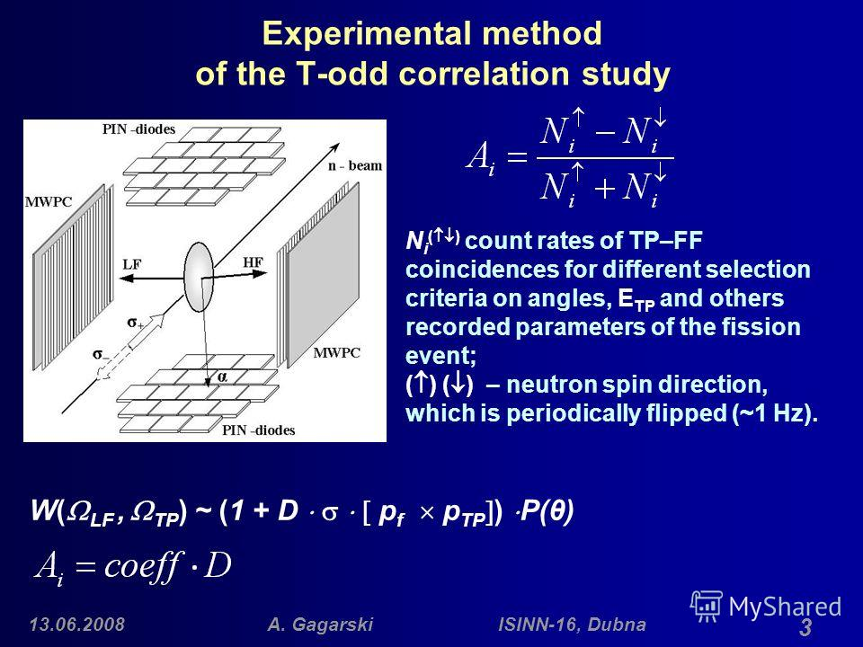 13.06.2008A. Gagarski ISINN-16, Dubna 3 Experimental method of the T-odd correlation study N i ( ) count rates of TP–FF coincidences for different selection criteria on angles, E TP and others recorded parameters of the fission event; ( ) ( ) – neutr