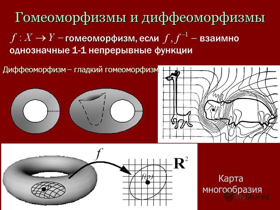 Гомеоморфизмы и диффеоморфизмы гомеоморфизм гомеоморфизм, если взаимно однозначные 1-1 непрерывные функции Карта многообразия Диффеоморфизм – гладкий гомеоморфизм
