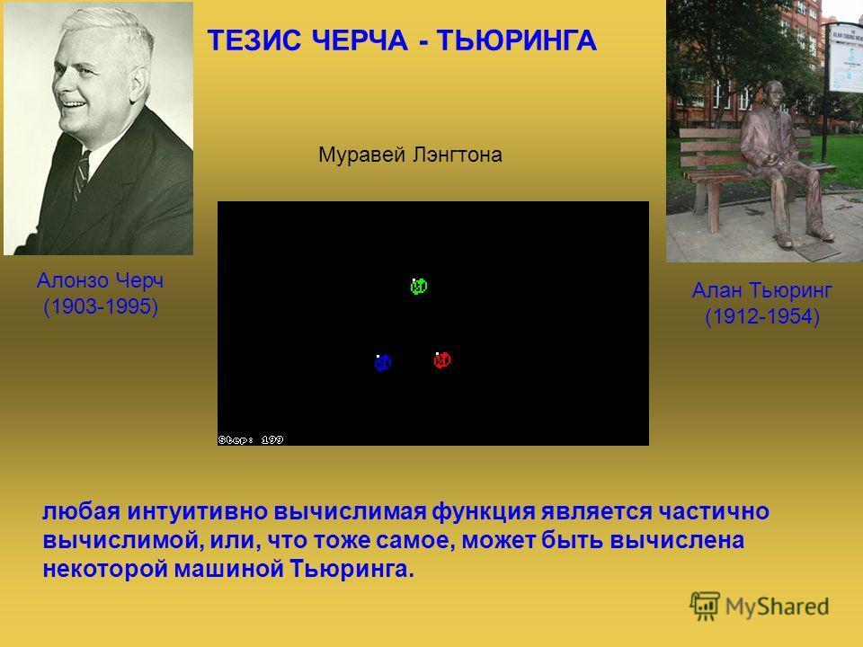 ТЕЗИС ЧЕРЧА - ТЬЮРИНГА Алонзо Черч (1903-1995) любая интуитивно вычислимая функция является частично вычислимой, или, что тоже самое, может быть вычислена некоторой машиной Тьюринга. Алан Тьюринг (1912-1954) Муравей Лэнгтона
