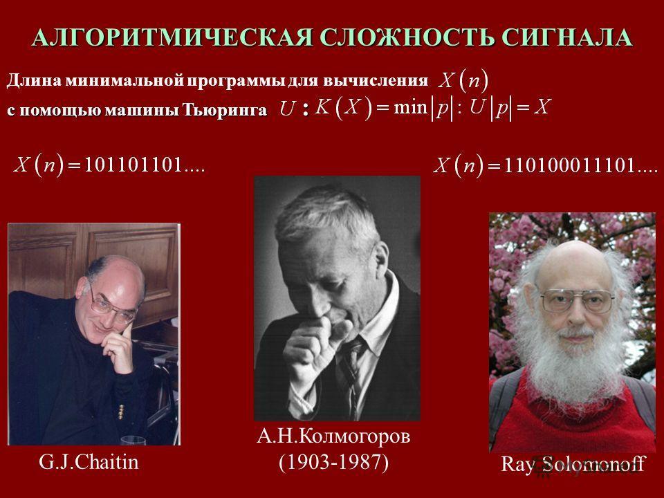 АЛГОРИТМИЧЕСКАЯ СЛОЖНОСТЬ СИГНАЛА Длина минимальной программы для вычисления с помощью машины Тьюринга : G.J.Chaitin Ray Solomonoff А.Н.Колмогоров (1903-1987)