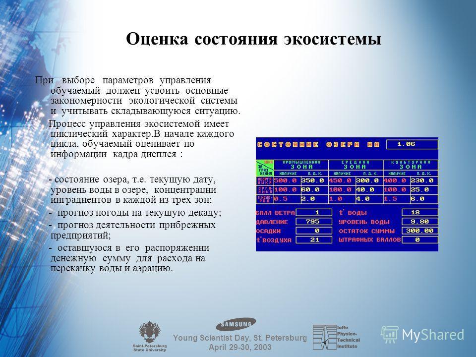 Young Scientist Day, St. Petersburg April 29-30, 2003 Финансиpующий оpган На упpавление озеpом на 2 месяца выделяется 300 pуб. Эти деньги pасходуются на пеpекачку воды из pасчета 50 коп за каждую 1000 куб.м и на искусственную аэpацию из pасчета 25 ко