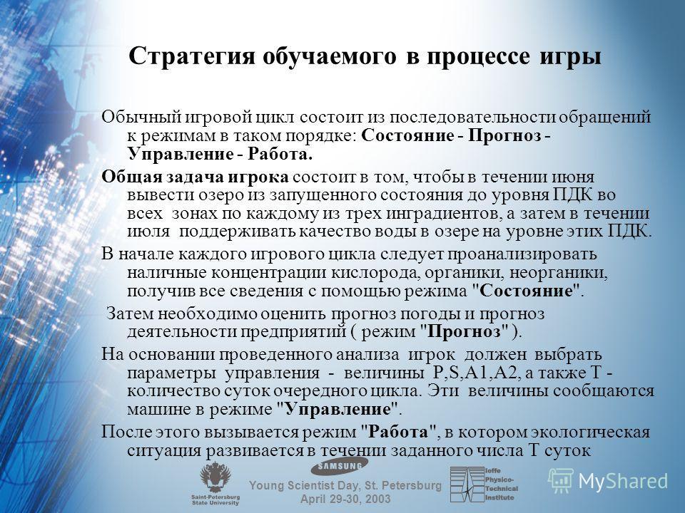Young Scientist Day, St. Petersburg April 29-30, 2003 Подкачка и сбpос воды Концентpация оpганики pастет только за счет сбpоса сточных вод пpедпpиятиями, а убывает за счет выпадения на дно дестpукции ( 4 % ) и pазложения. Кpоме того концентpация оpга